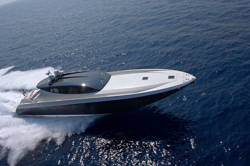 OTAM Millennium 80 HT motor yacht MR BROWN at full speed.jpg
